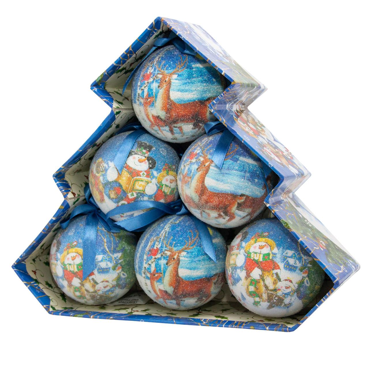 Набір ялинкових іграшок - кулі Сніговик і Олень, 6 шт, D7,5 см, різнокольоровий, пінопласт, папір (420056-4)