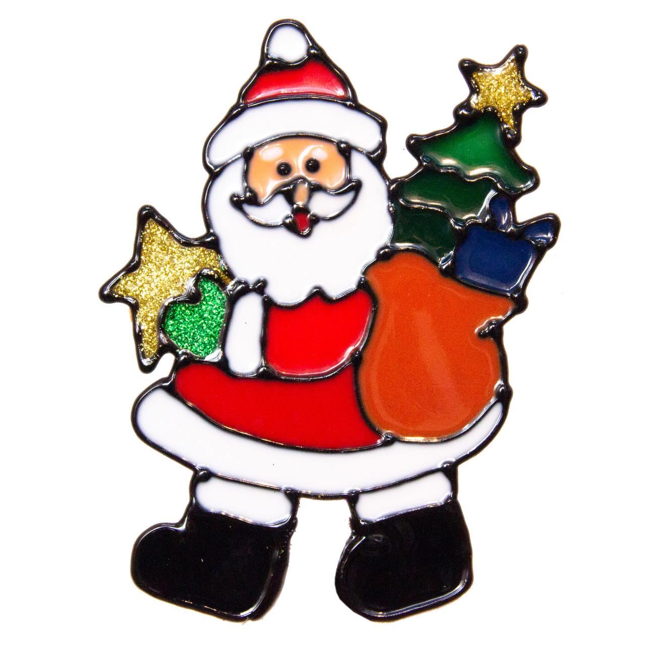 Новогоднее украшение - наклейка на окно Дед Мороз с елкой, 15*15 см, разноцветный, ПВХ (160050-2)