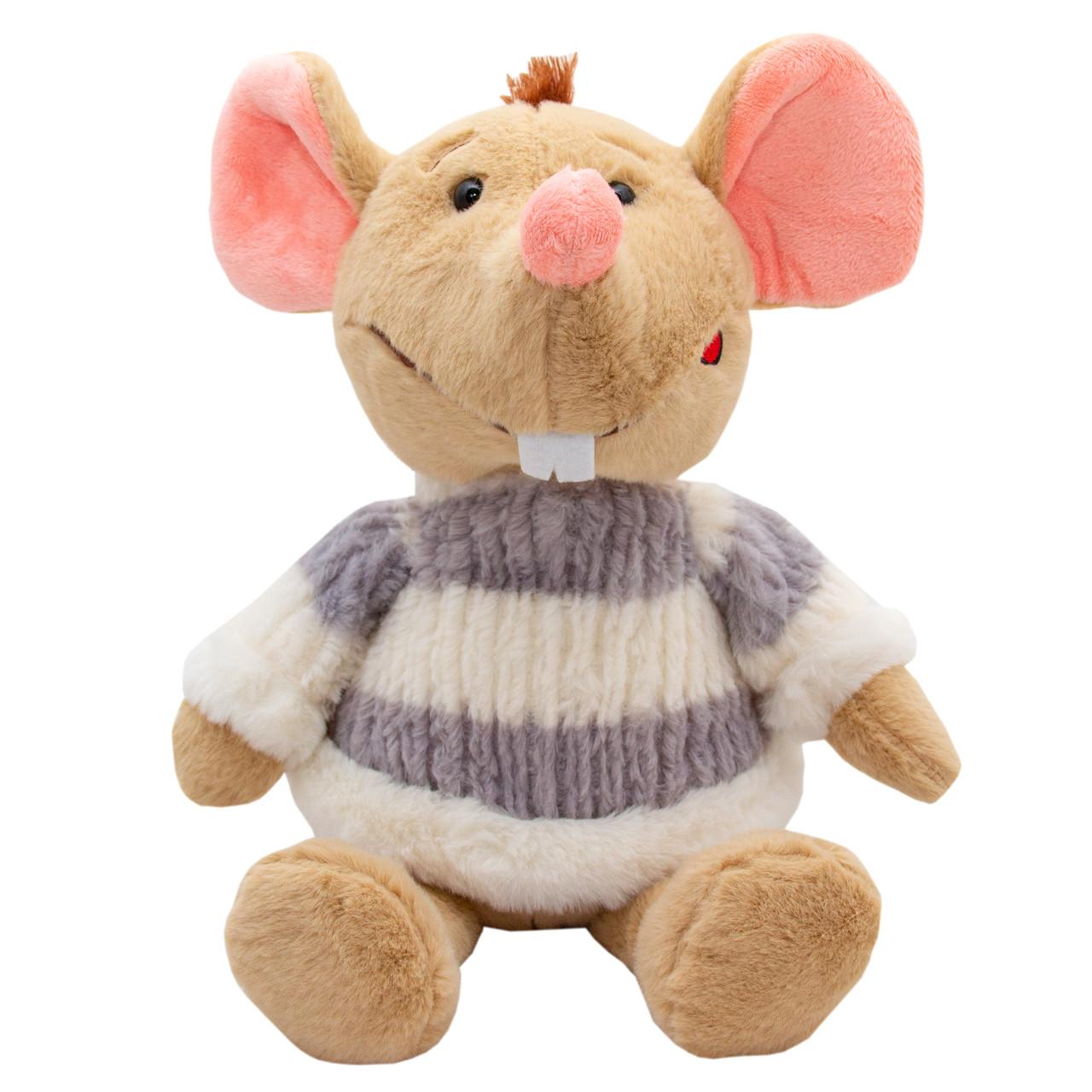 М'яка іграшка - щур у светрі біло-сірому, 29 см, бежевий, штучне хутро (M1810029B-2)