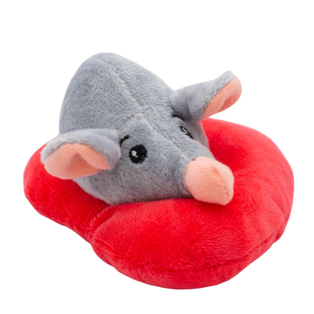 Мягкая игрушка - крыса с сердечком, 12 см, серый, мех искусственный (M1819712A-2)