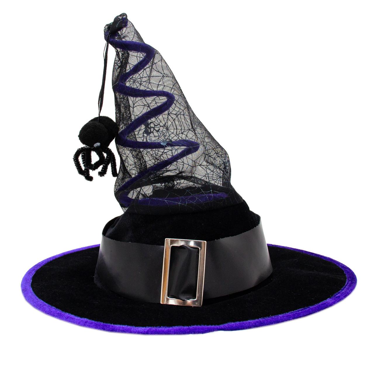 Карнавальный колпак ведьмы с пауком, 37*35 см, пластик, черный (462698)