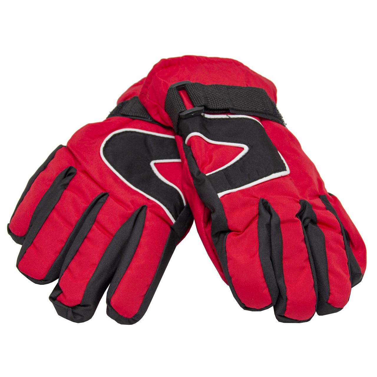 Водоотталкивающие детские лыжные перчатки, размер 13, красный, плащевка, флис, синтепон (517090)