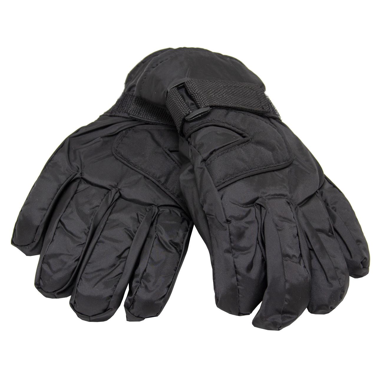 Водоотталкивающие детские лыжные перчатки, размер 13, черный, плащевка, флис, синтепон (513658-5)