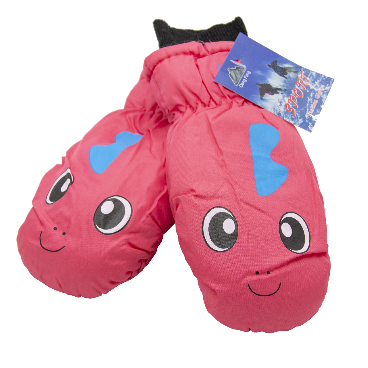 Водовідштовхуючі  дитячі лижні рукавиці, розмір 12, рожевий, плащівка, фліс, синтепон (517182)