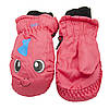 Водовідштовхуючі  дитячі лижні рукавиці, розмір 12, рожевий, плащівка, фліс, синтепон (517182), фото 2