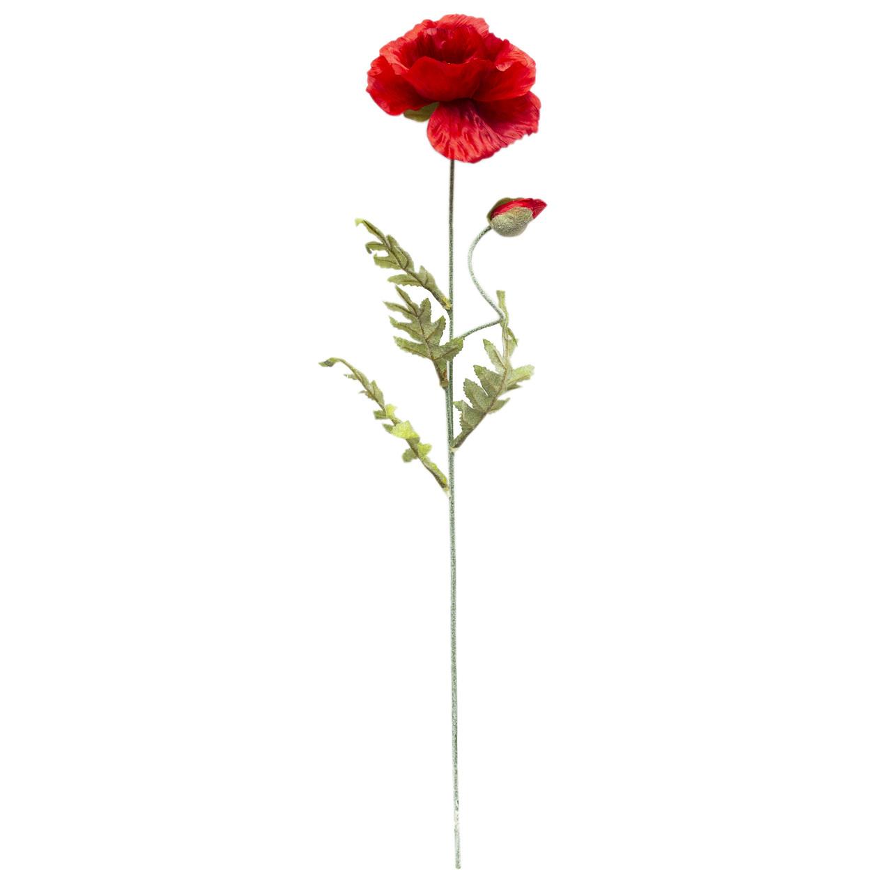 Искусственный цветок Мак - ветка, ткань, пластик, 78 см, красный (630195)