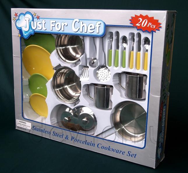 Набір ігрового посуду - кухонний, 21 шт, нержавіюча сталь, порцеляна (CH2021SSP)