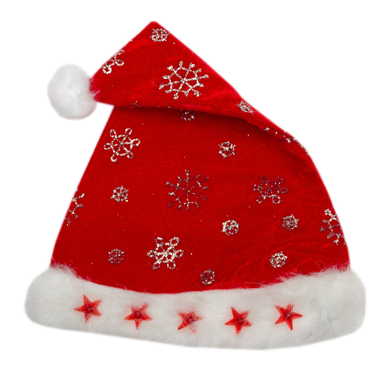 Новогодний колпак со звездами, 55-56 см, красный, полиэстер, вельвет (460304)