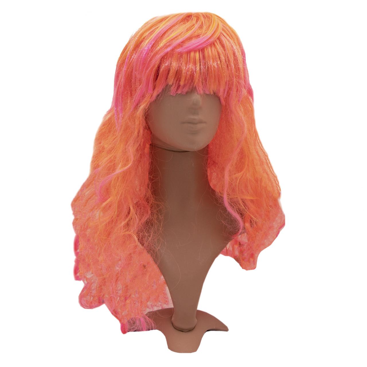 Карнавальный парик, 48-50 см, оранжевый, синтетическое волокно (461806)