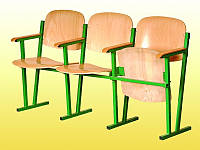Кресло для актового зала, 3-местное, 1550х520х830 мм (гнуто-клееная фанера).