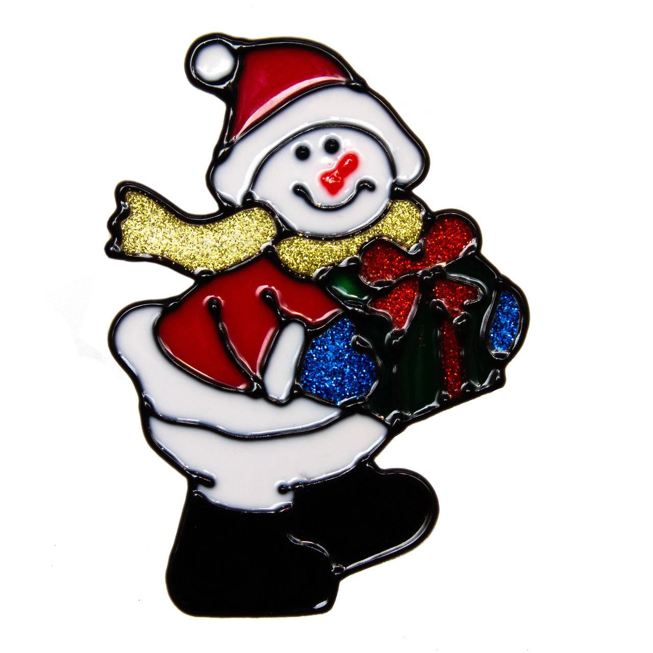Витраж на окно, Снеговик с подарком, 15*15 см (160029-1)