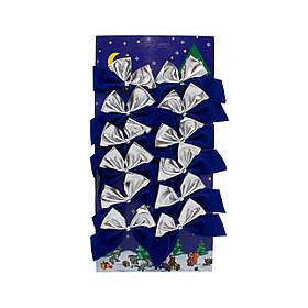 Набор елочных украшений - бантики, 12 шт, 6*5 см, серебристый с синим, текстиль (471102-4)