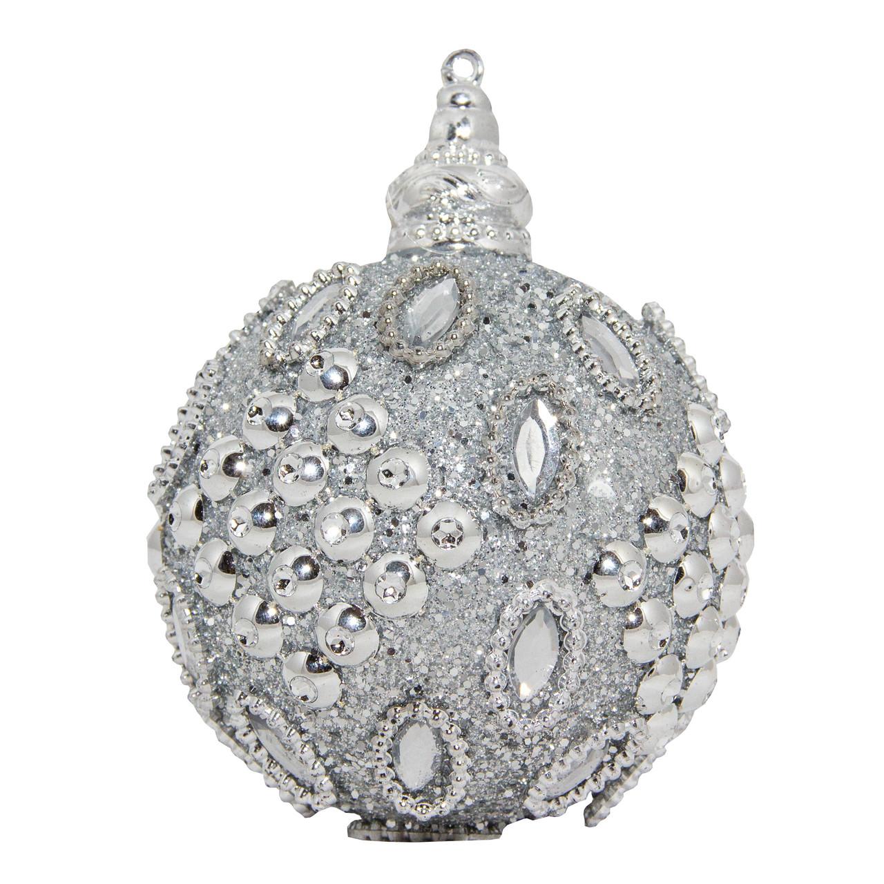 Ялинкова іграшка - куля, D 8,5 см, сріблястий, пінопласт, пластик (661428-3)