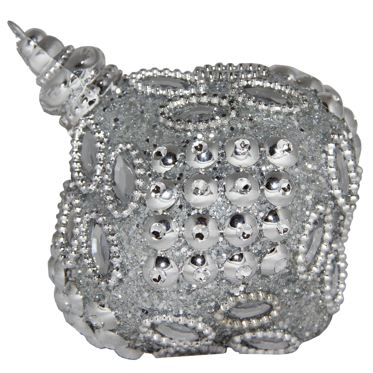 Елочная игрушка в форме луковицы, 9 см, серебристый, пенопласт, пластик (661428-7)