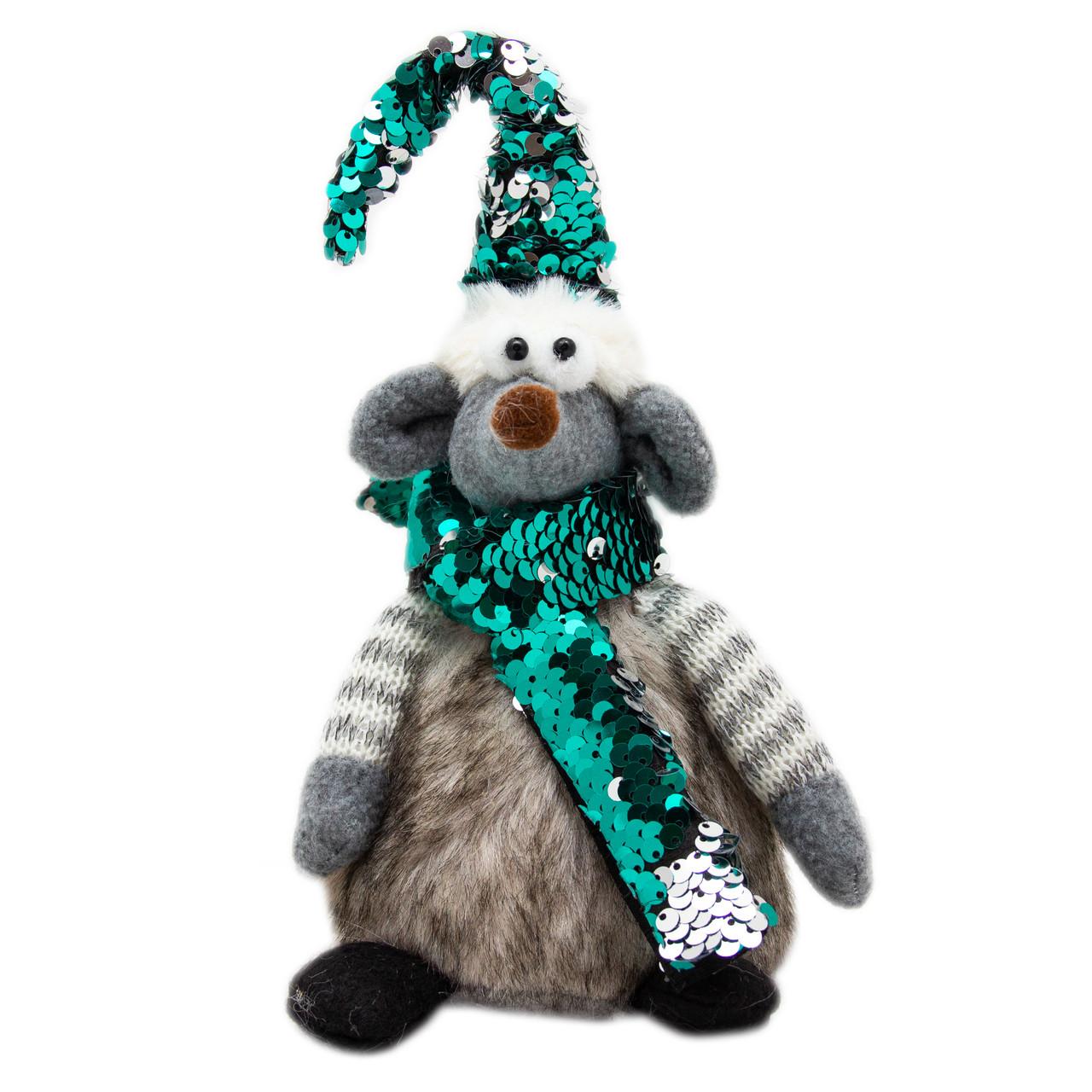 Мягкая игрушка - мышка с ярким колпаком, 25 см, серый, зеленый, текстиль (460402)