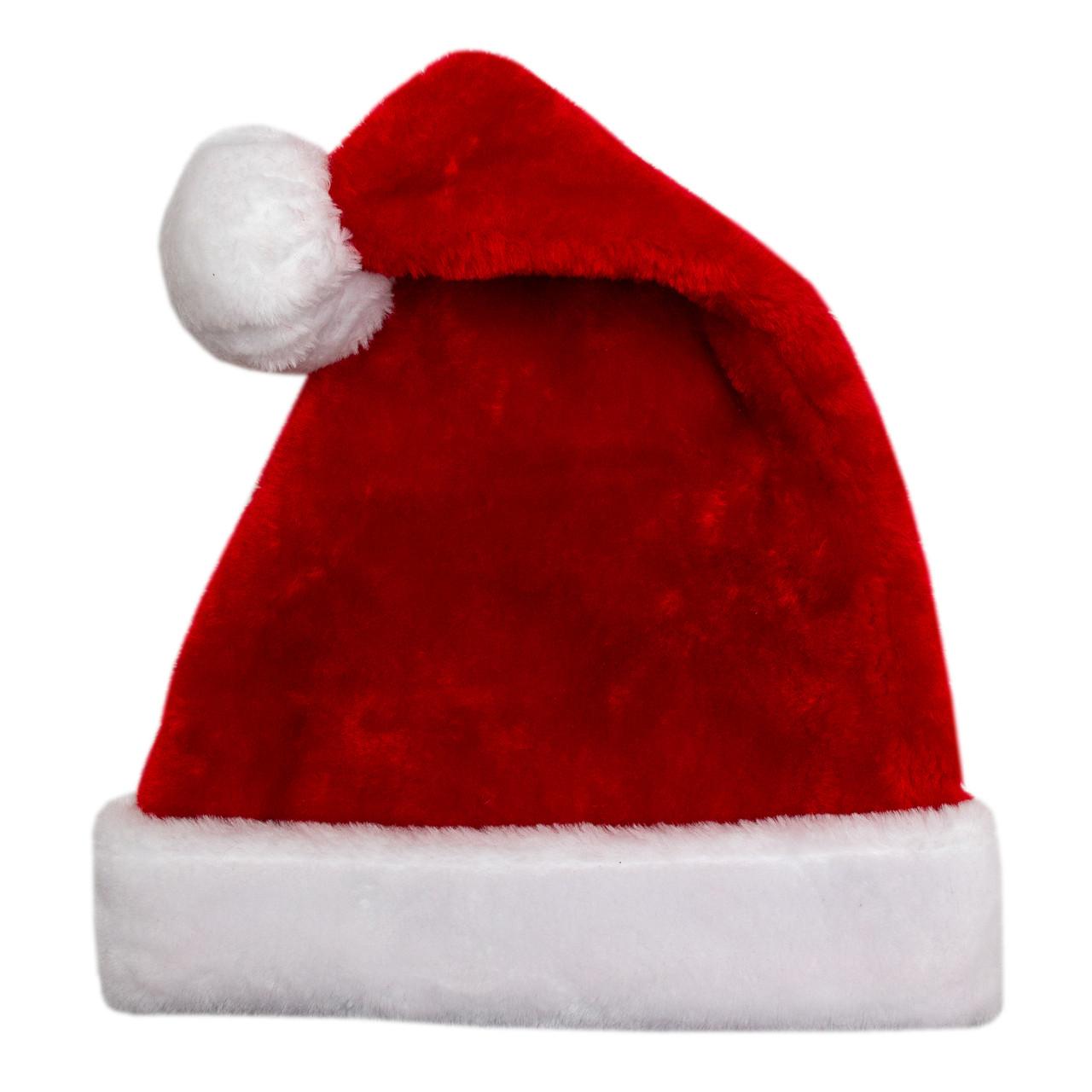 Новогодний карнавальный колпак, 58-60 см, плюш, полиэстер, красный (460298)