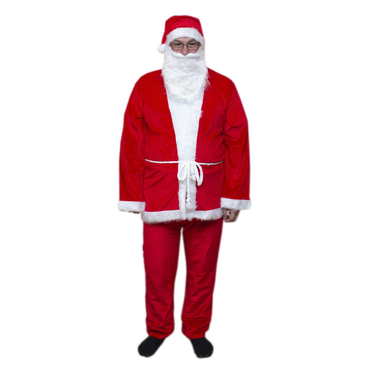 """Карнавальный костюм """"Дед Мороз"""" для взрослого 180см, вельвет, красный с белым (462414)"""
