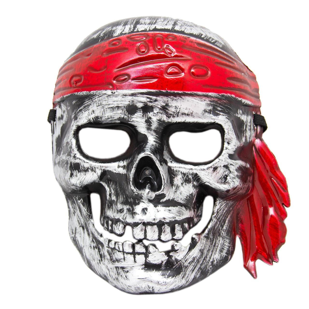 """Карнавальная маска - """"Череп в бандане"""", 18*21,5 см, ПВХ, белый (462490)"""