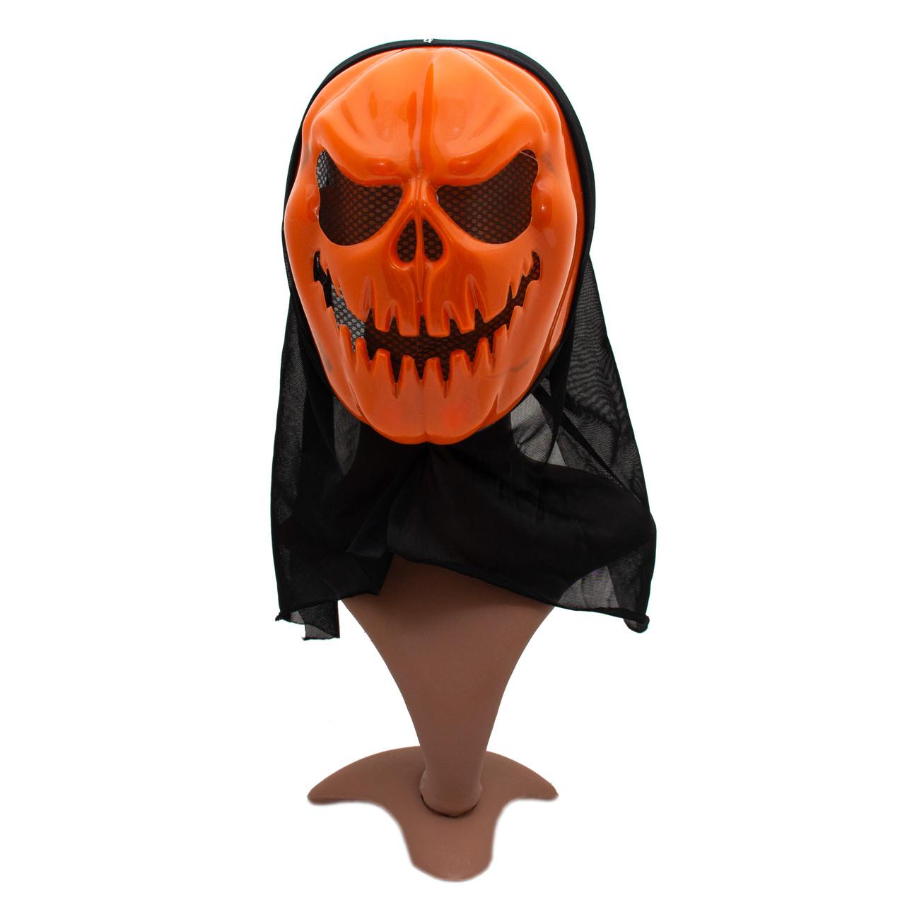 Карнавальная маска череп, 20*38 см, полиэстер, оранжевый (462537)