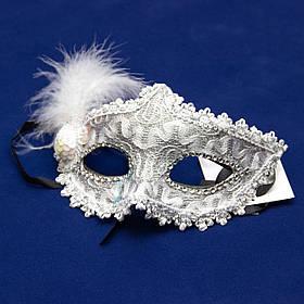 Карнавальная маска, 17*19 см, пластик, белая (462599)