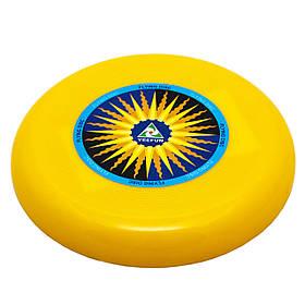 Фрисби, летающая тарелка, пластик, 15 см, желтый (DFD09004-4)