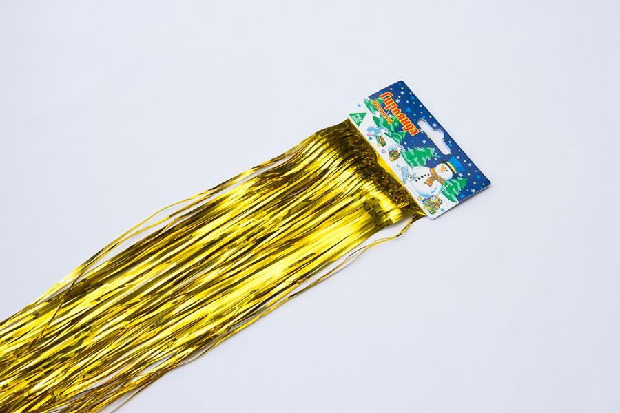 Новогоднее украшение - дождик, 150*24 см, ПВХ, золотистый (ГД-240/1,5-2)