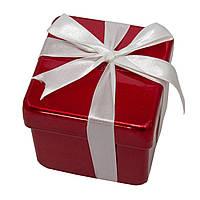 Подарок с бантом белым 10см, пластик, красный (110230-3)