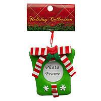 Сувенирная фоторамка резиновая на подвеске, 9,5см, Подарок зеленый, (001545-8)