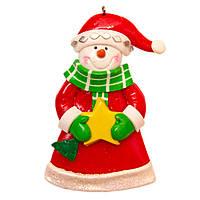 Фигурка глиняная сувенирная 9 см, Снеговик со звездой (000371-5)