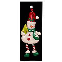 Елочная игрушка фигурка на подвеске, 13см, Снеговик с елкой (001583-2)