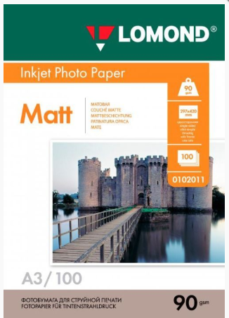 Lomond A3 (100л) 90г/м2 матовая фотобумага белая для струйной печати и принтера, фото 2