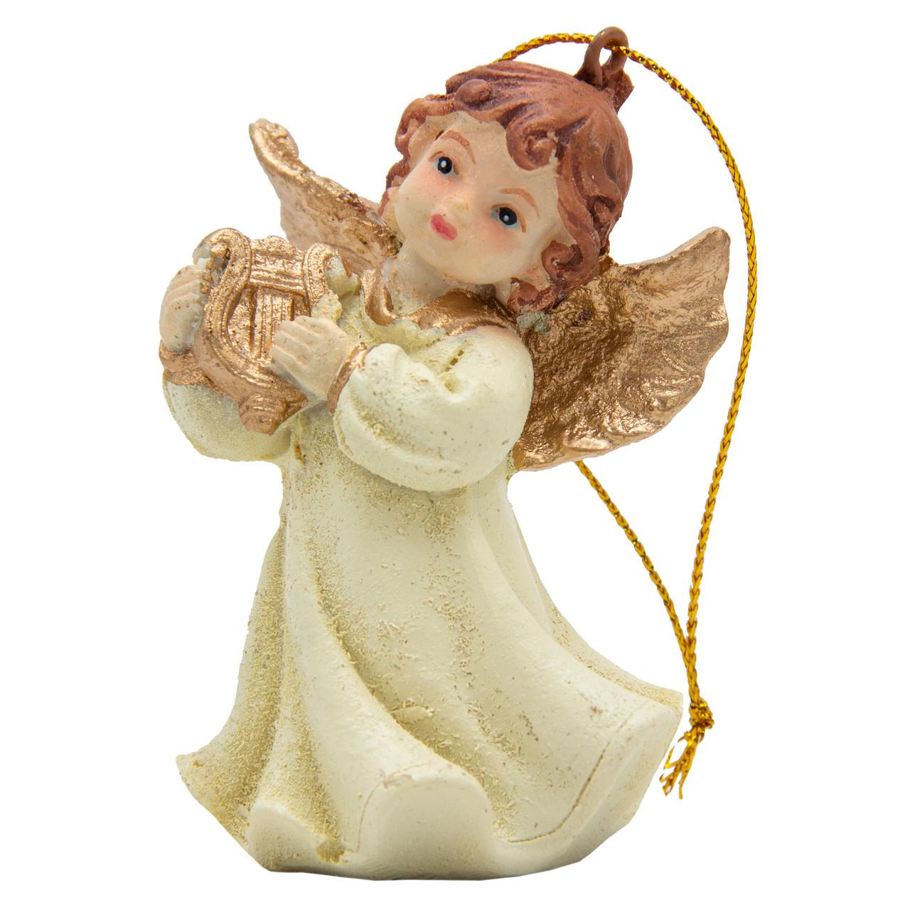 Фигурка сувенирная из полистоуна, h-7 см, Ангелочек с арфой (000333-8)