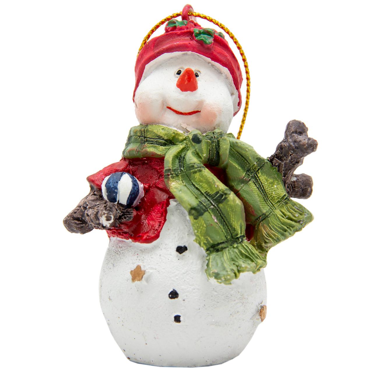 Фигурка сувенирная из полистоуна, h-7 см, Снеговик с зеленим шарфом (000333-9)