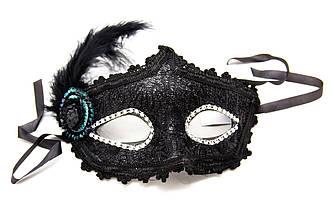 Карнавальная маска, 17*19 см, пластик, черная (462582)