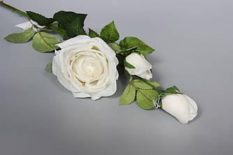 Искусственная роза-ветка, ткань, пластик, 73 см, белый (630058)