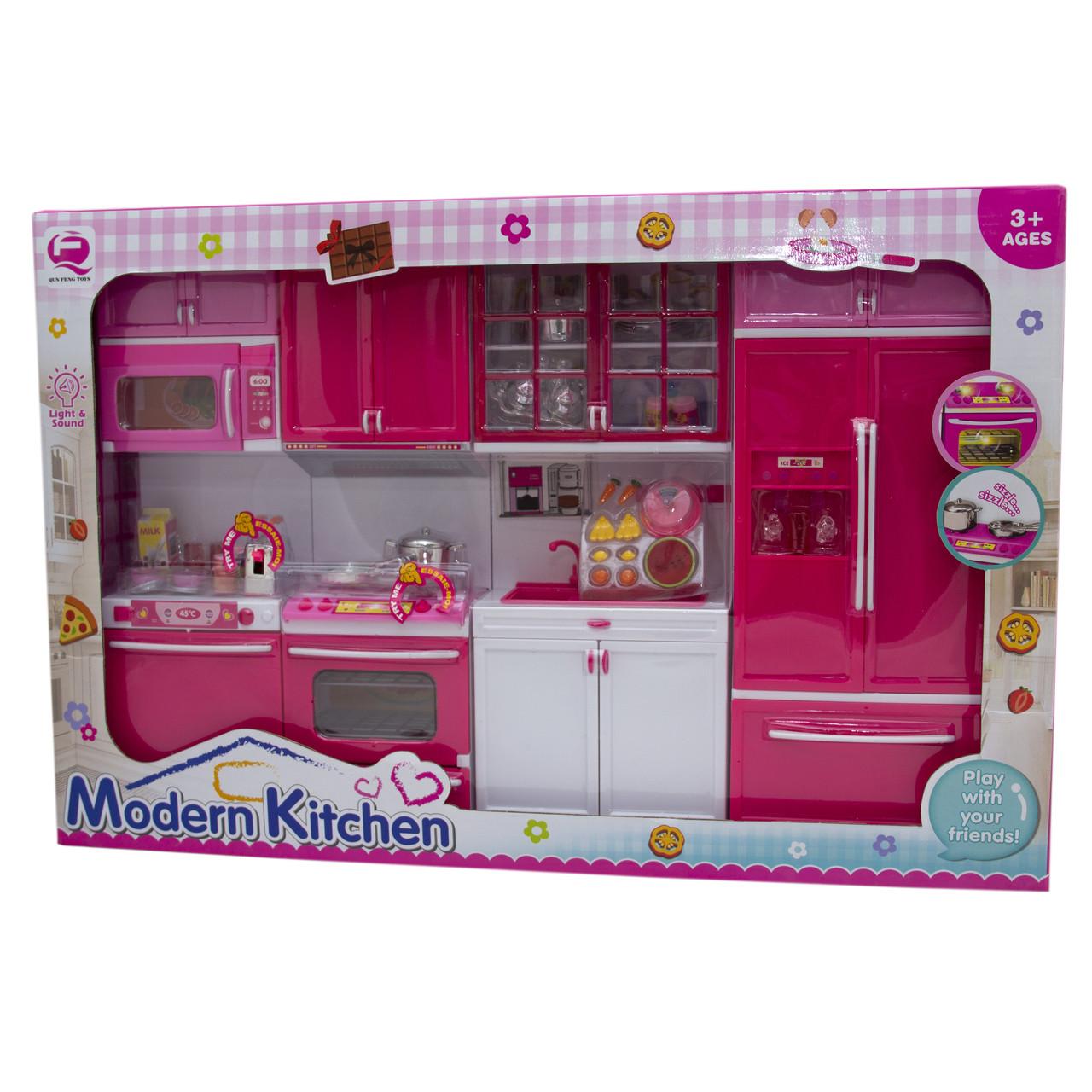 """Кукольная кухня """"Современная кухня"""", розовая, 54х9,5х36см (QF26211PW)"""