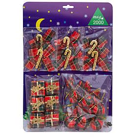 Набор елочных игрушек - новогодний, 15шт, 26*38 см, разноцветный, текстиль (470600)