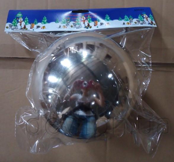 Елочный шар пластиковый глянцевый d15 cм, серебро (030491)