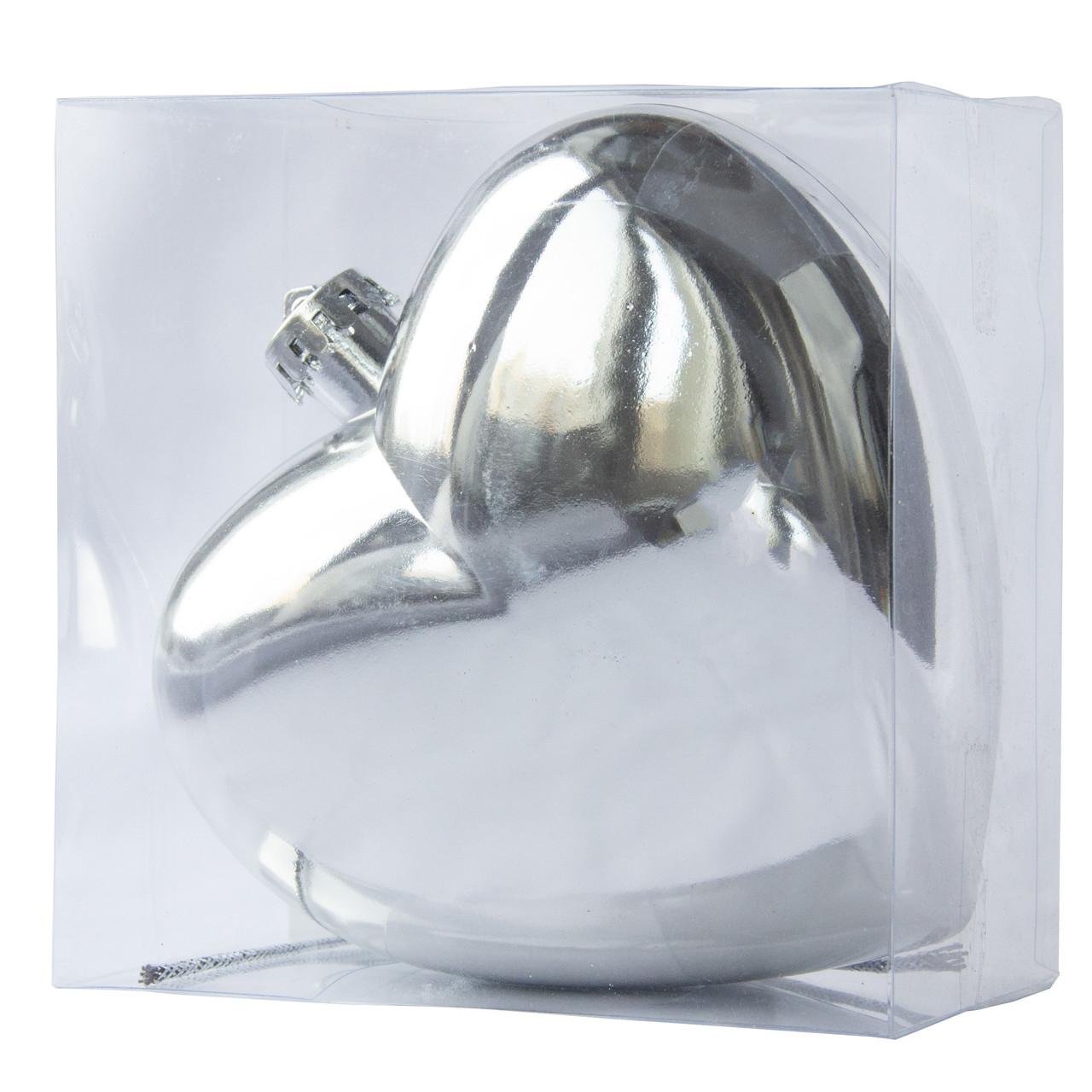 Пластиковое украшение сердце, 15 см, серебро (030736-1)