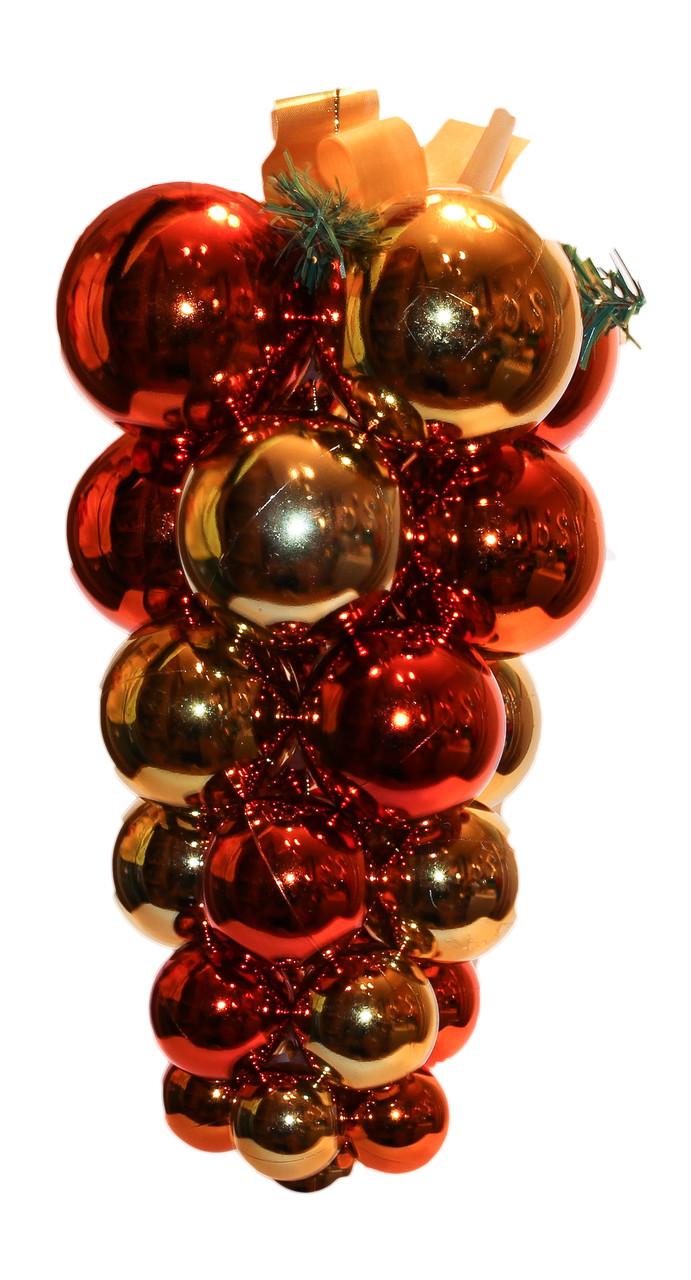 Большая елочная игрушка - виноград, пластик, золотисто-коричневый (031450)