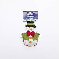 Фигурка сувенирная из полиэстера на подвеске, 11см, белый снеговик, (000739-4)