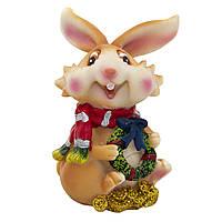 Фигурка сувенирная Кролик с шарфом, с венком (440252-3)