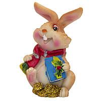Фигурка сувенирная Кролик с шарфом с книжкою, 3см (440238-2)