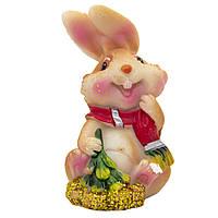 Фигурка сувенирная Кролик с шарфом, с елкой, 3см (440238-3)