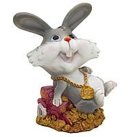 Фигурка сувенирная Кролик-копилка с трактором, 14см (440405-2)