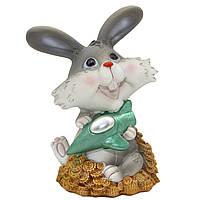 Фигурка сувенирная Кролик-копилка с самолетом, 14см (440405-4)