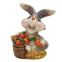 Фигурка сувенирная Кролик морковка в ведре красная, 7,5см (440672-2)