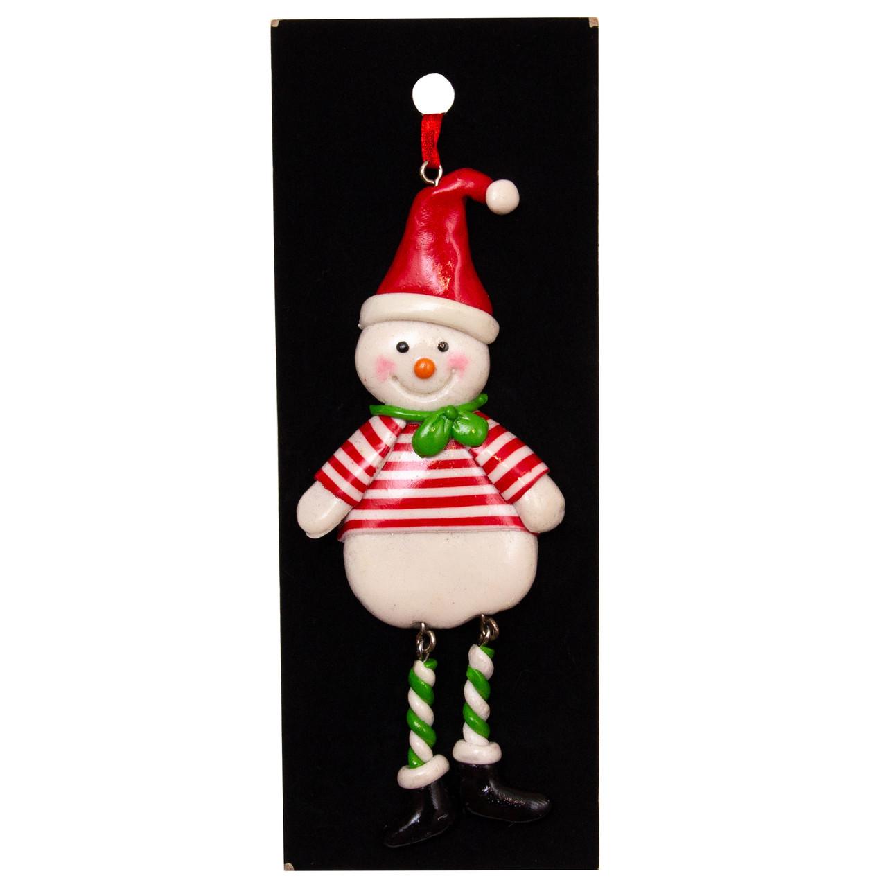 Елочная игрушка Снеговик в полоску, полирезин, 13 см (001583-3)
