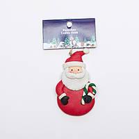 Елочная игрушка - дед мороз с тростью, 9 см, красный, пластик (001361-7)