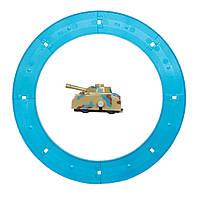 Танк с голубым треком Aohua заводной, внешний диаметр трека 16 см, длина танка 4,5 см, пластик. (8054A-3-1), фото 1